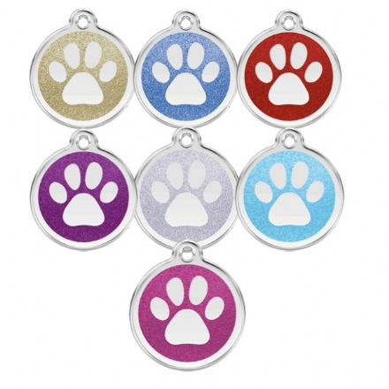 Red Dingo Dog Tag Glitter Paw
